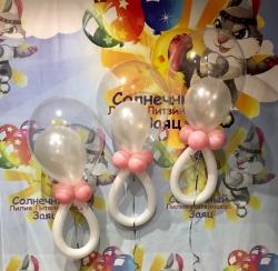 Пустышка из шаров для девочки с гелием