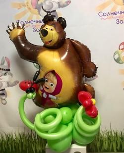 Маша и медведь,фольгированный шар на основании
