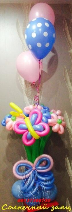 Букет с шарами (9 цветочков) на подставке