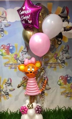 Кошечка в розовом с шарами