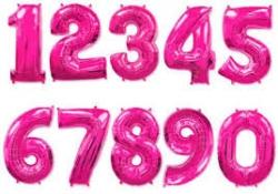 Фольгированные цифры,ярко розовый
