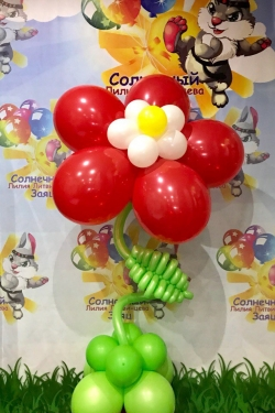 Большой цветок на стебле с гелием