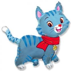 """Мой милый котенок в шарфике (голубой), 37""""/94 см"""