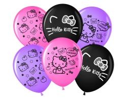 Шар 30 см. Hello Kitty, С Днем Рождения!, Ассорти, пастель с обр.