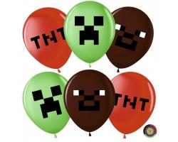 Воздушный шар (12''/30 см) Пиксели, Ассорти с обр.
