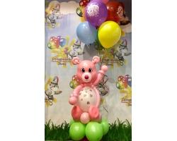 Розовый мишутка и 7 шаров с рисунком