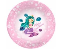 Тарелки (7''/18 см) С Днем Рождения! (принцесса Русалочка), Розовый, 6 шт.