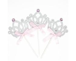 Топпер в торт, Корона для принцессы, Серебро, 3 шт.