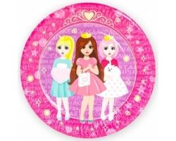 Тарелки (9''/23 см) Куклы-принцессы, Сиреневый/Розовый, 6 шт.