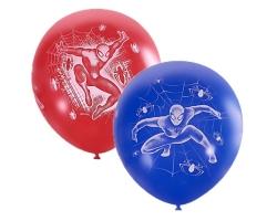 """12""""/30см Пастель RED + Декоратор ROYAL BLUE (растр.) 5 ст. рис Марвел Человек-Паук 25шт с обр."""