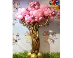 Дерево большое каркасное с добавлением шаров хром