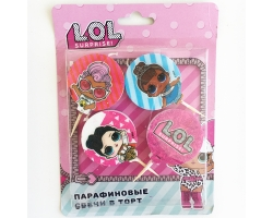 Свечи круглые на пиках Кукла LOL 4шт