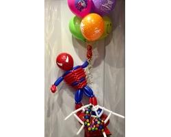 Человек паук с шарами 7шт с рисунком,цифра