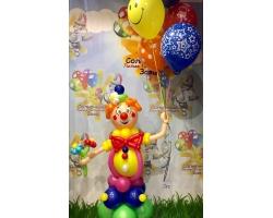 Красочный клоун с шарами 5 штук с рисунком