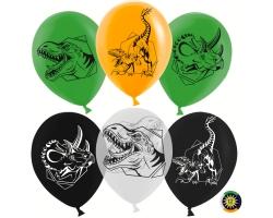 Воздушный шар (12''/30 см) Эра Динозавров, Ассорти с обр.
