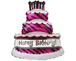 Торт розовый/бирюза