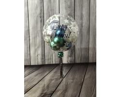 Bubbles 60 см с принтом,наполнением и надписью США,шары хром