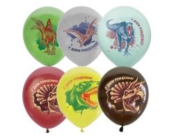 """12""""/30см П+Д (растр) 1ст.2 цв. рис С Днем Рождения Динозавры с обр."""