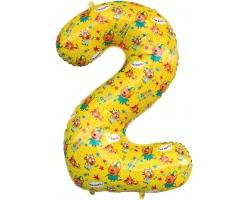 """Цифра 2 Три Кота , Желтый, 34""""/86 см"""