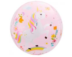 24'' Сфера 3D, С Днем Рождения (волшебные единороги), Розовый