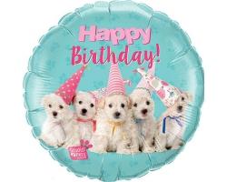 """Фол шар 18"""" Круг ХБ Домашние животные собачки Happy Birthday (Qualatex)"""