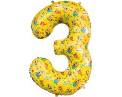 """Цифра 3 Три Кота , Желтый, 34""""/86 см"""