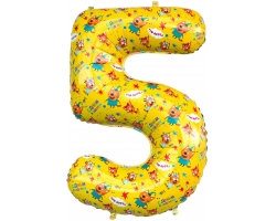 """Цифра 5 Три Кота , Желтый, 34""""/86 см"""