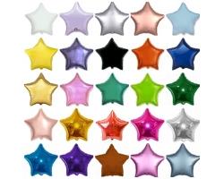 """Фольгированные звезды,цвета в ассортименте """"18"""""""
