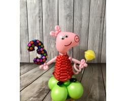 Свинка в красном платье с цифрой